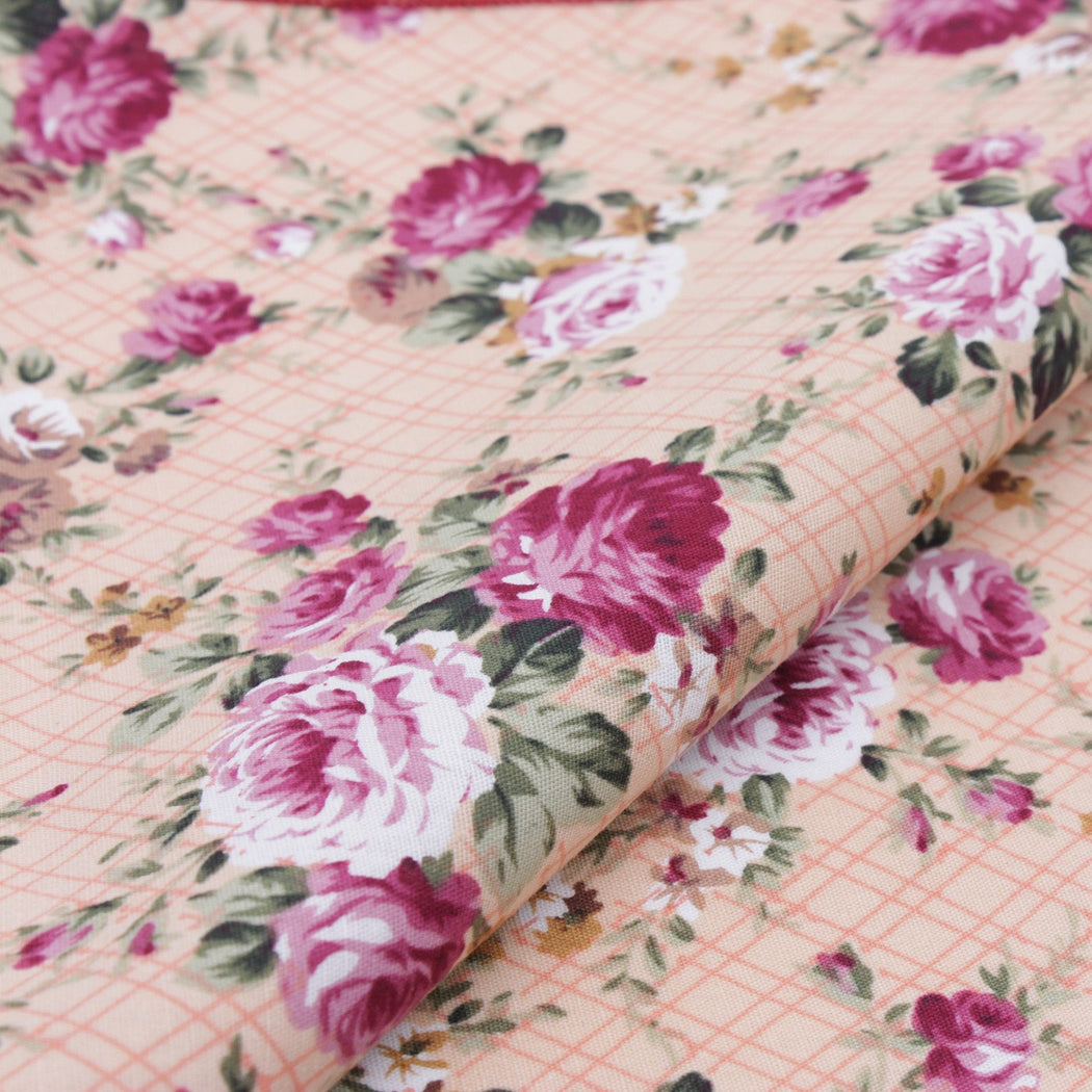 Plaid Pink Flower Pocket Square