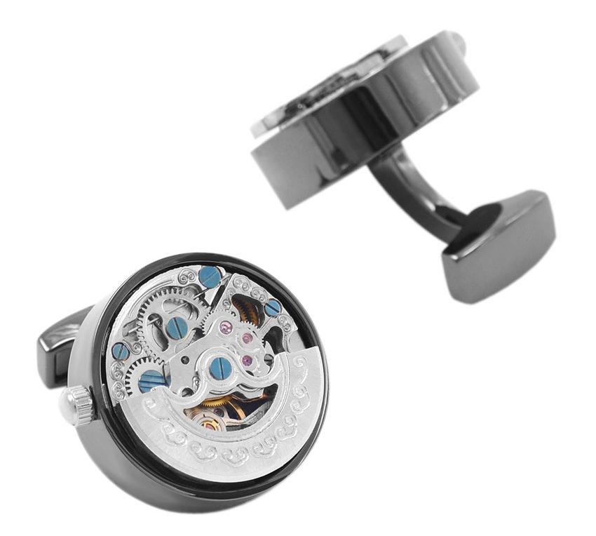 Dark Rounded Mechanical Watch Movement Cufflinks