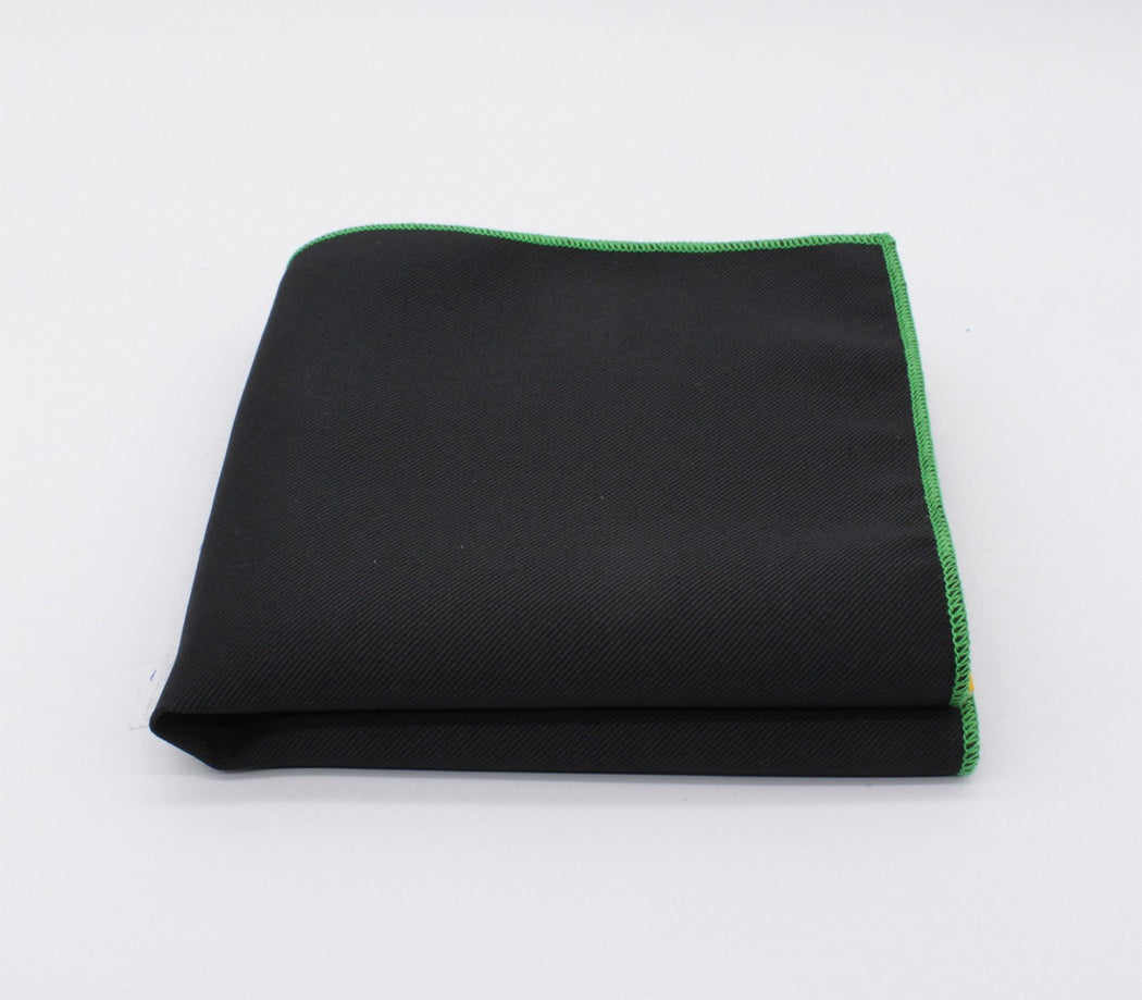 Dazzling Black & Green Solid Color Pocket Square