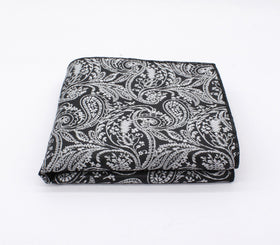 Embroidered White & Black Paisley Pocket Square