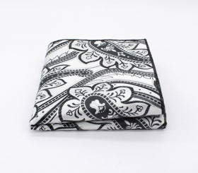 Evergreen White & Black Paisley Pocket Square