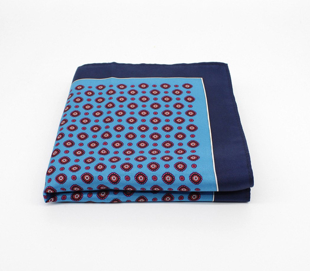 Floral Blue Silk Pocket Square