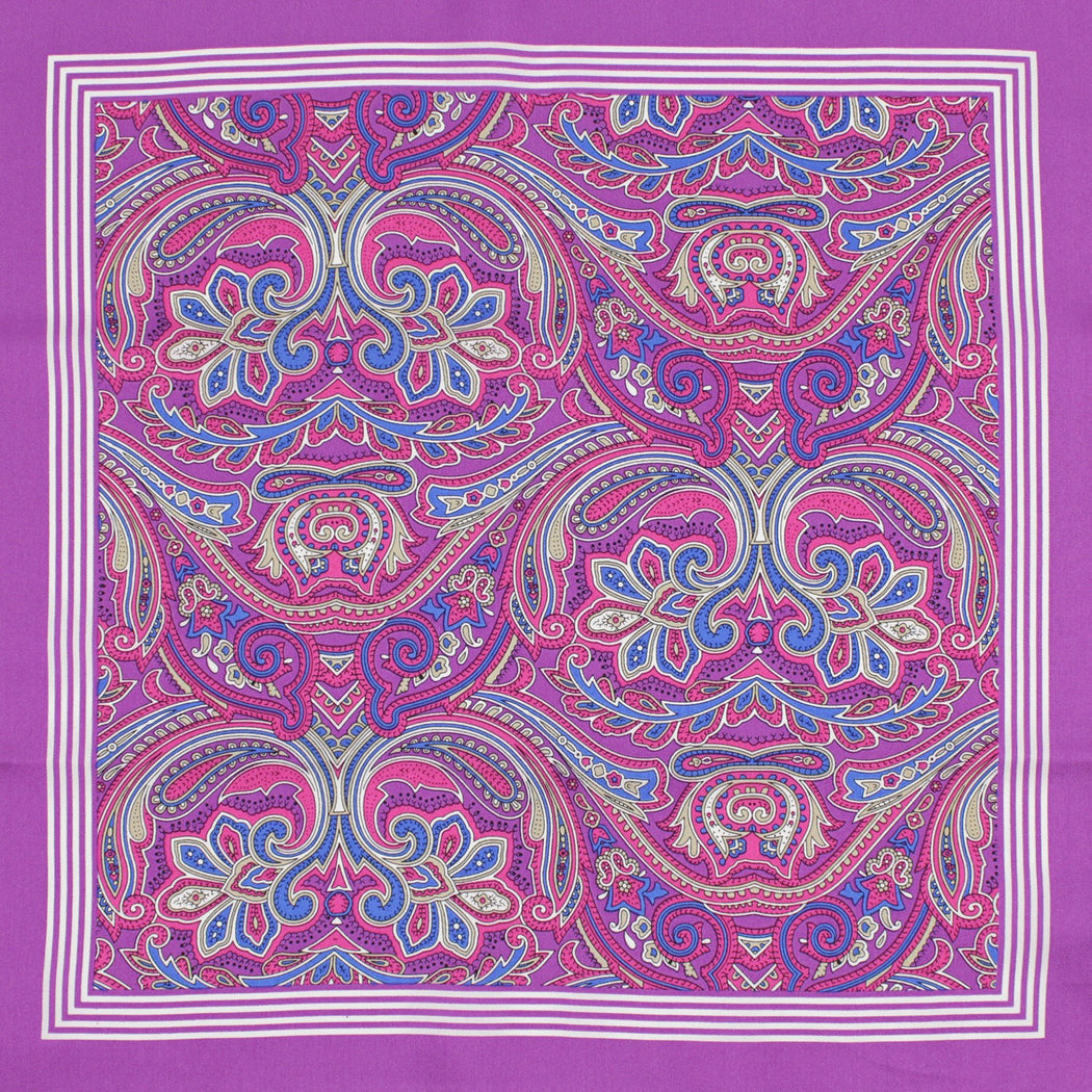 Floral Purple Silk Pocket Square