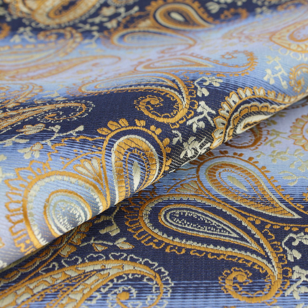 Gold & Blue Combos Paisley Pocket Square