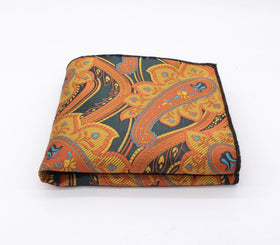 Gold & Navy Blue Paisley Pocket Square