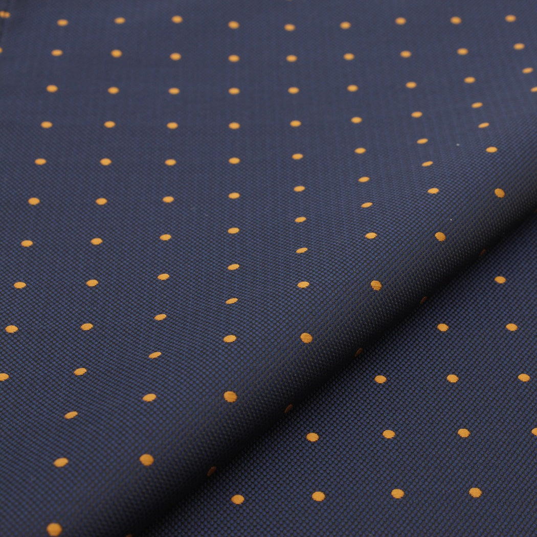 Golden Blue Polka Dot Pocket Square