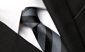 Grey Striped Skinny Tie
