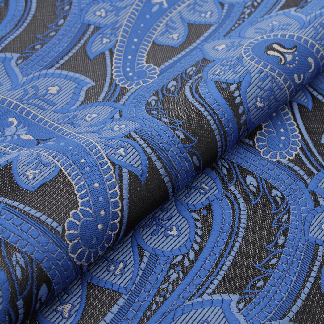 Lapis & Black Paisley Pocket Square