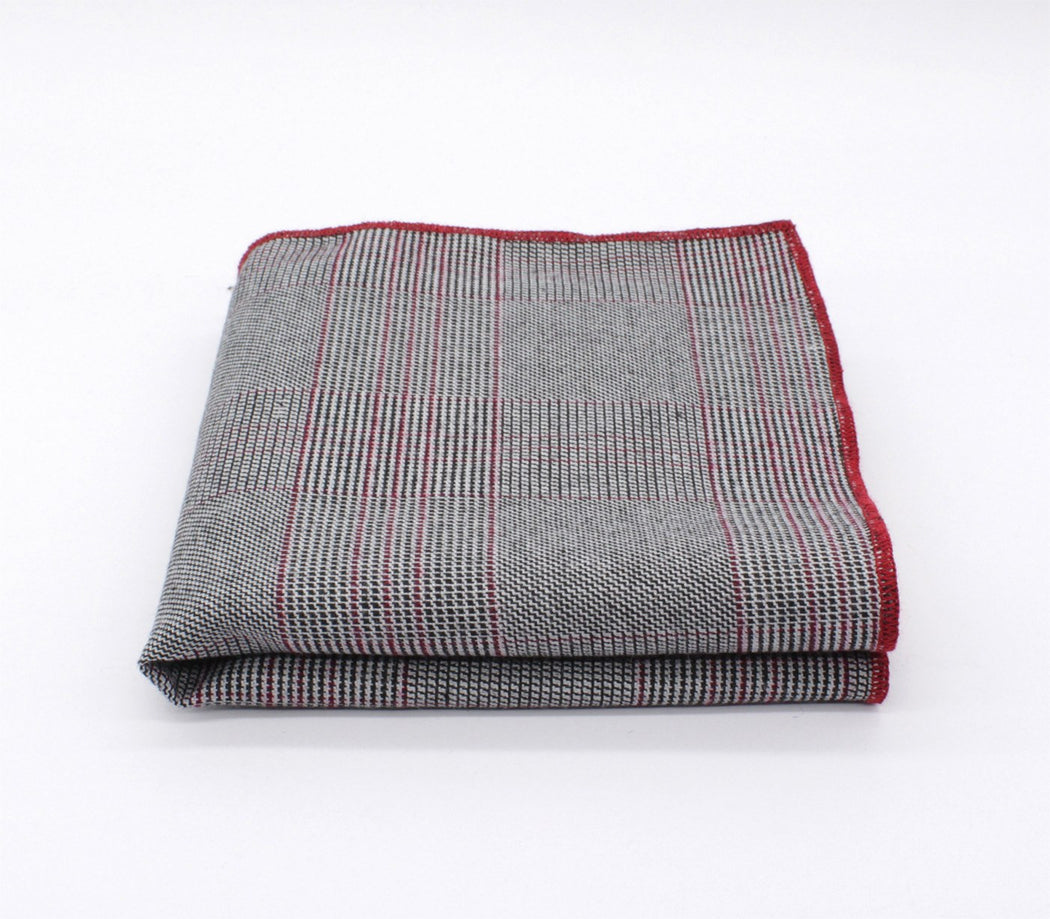 Light Gray Plaid Pocket Square