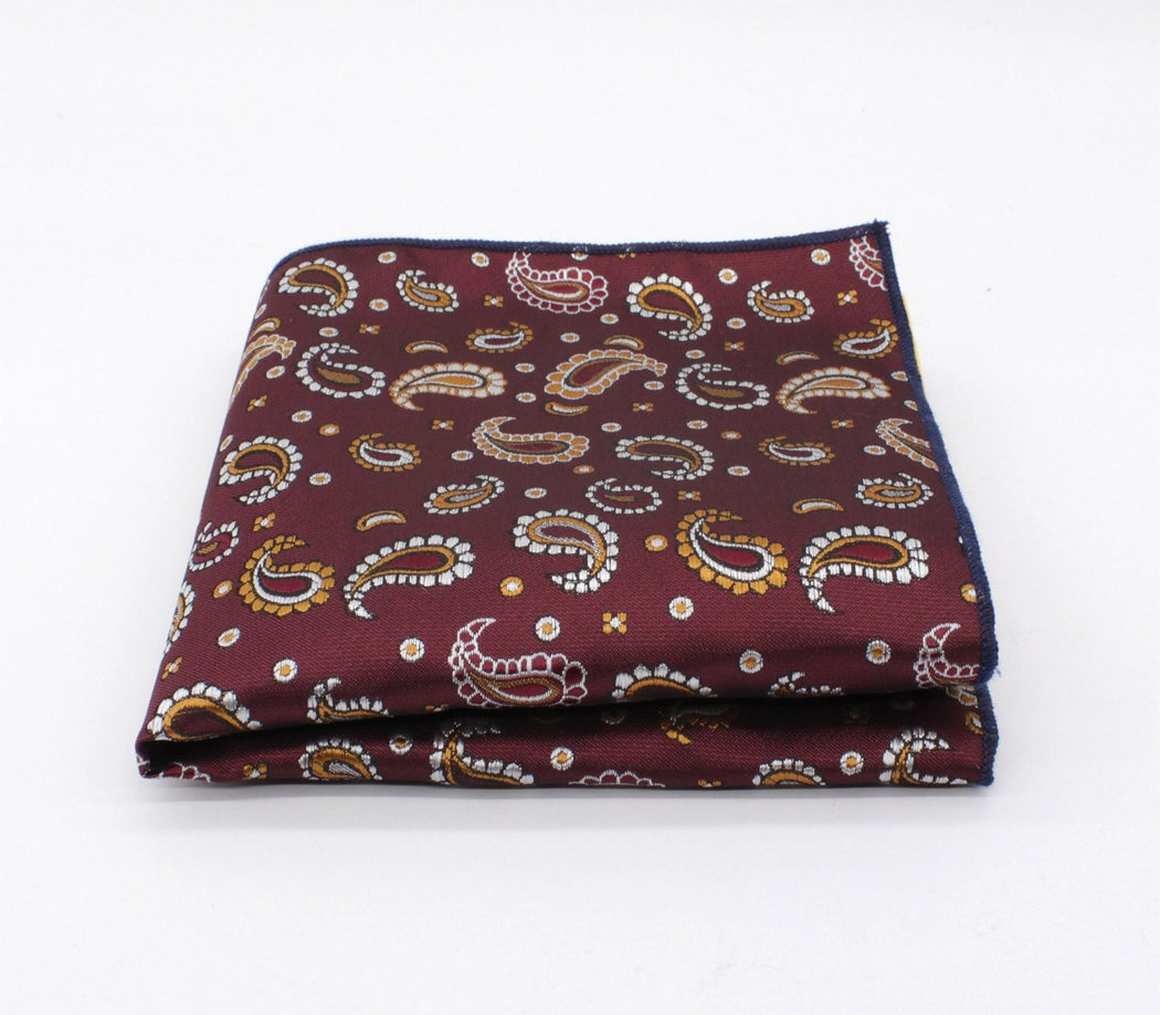 Maroon & Gold Paisley Pocket Square
