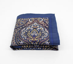 Mughal Blue Silk Pocket Square