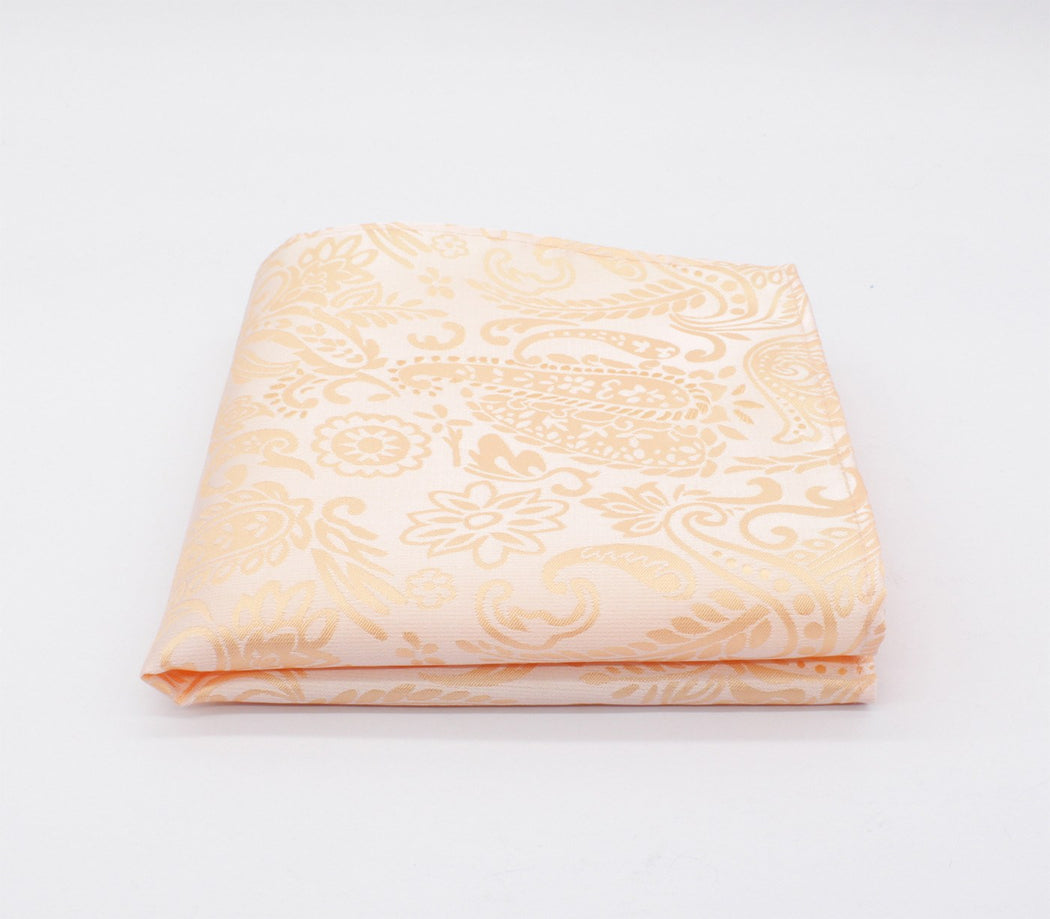 Dim Tangerine Orange Paisley Pocket Square