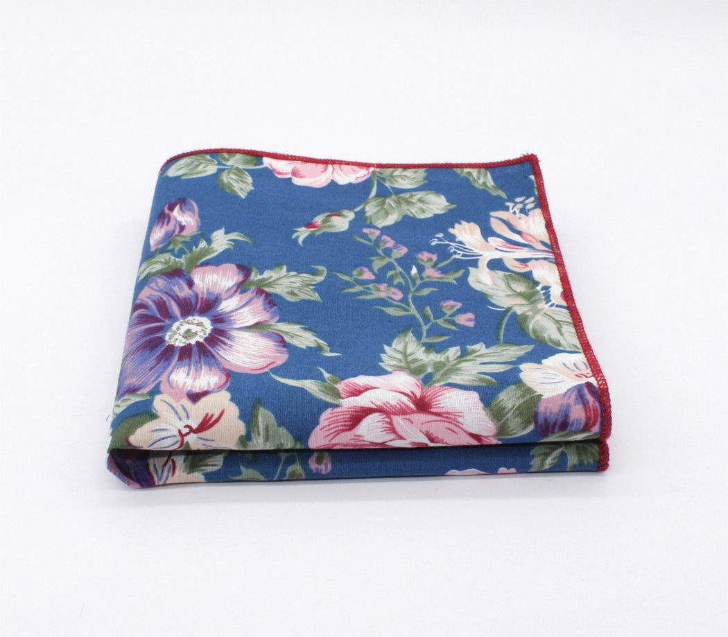 Regal Lapis Flower Pocket Square