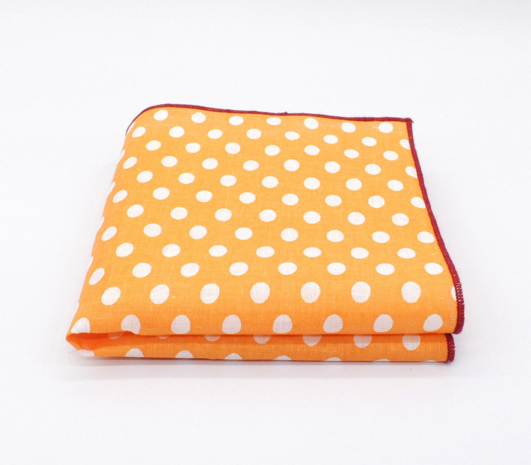 Rocket Orange Polka Dot Pocket Square