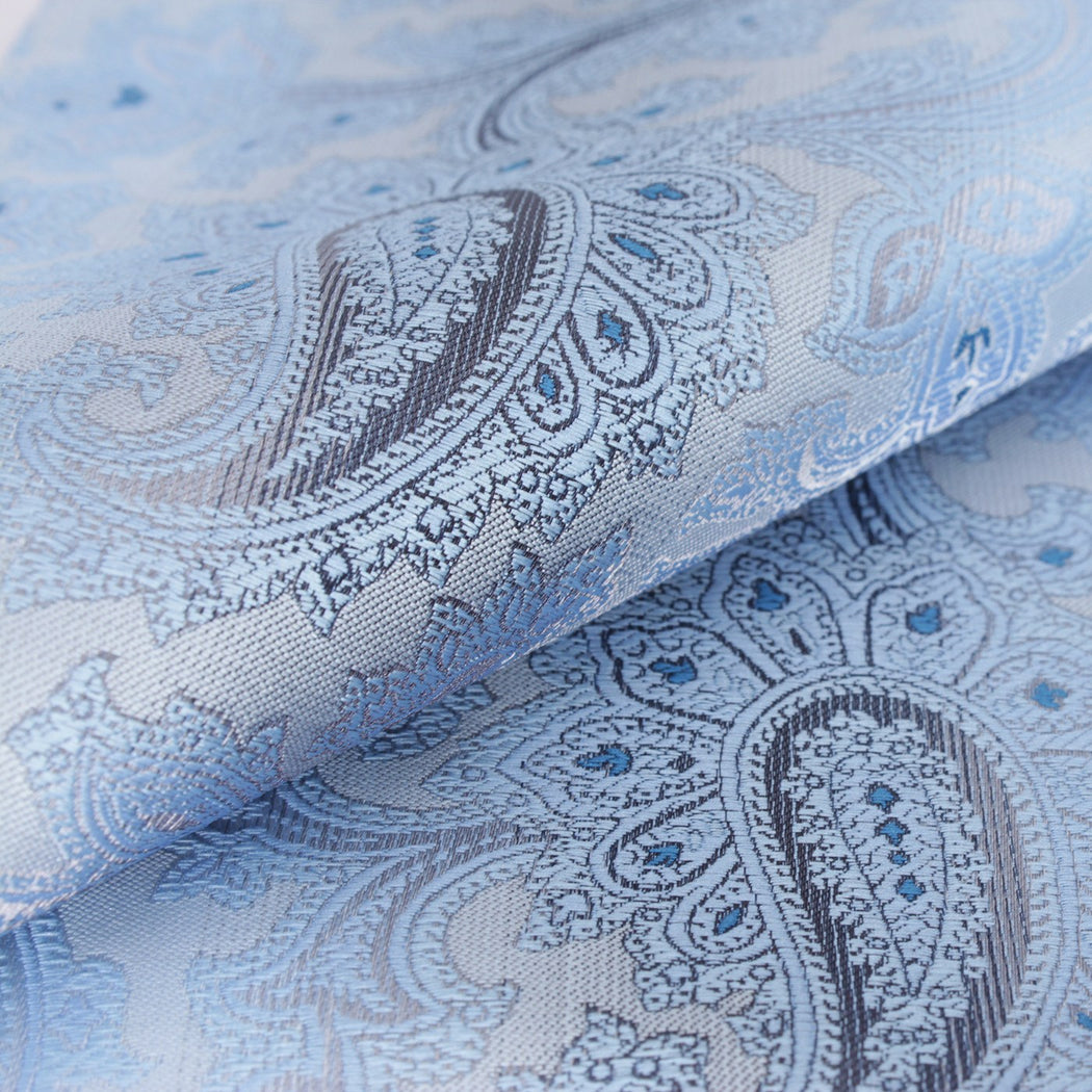 Shiny Silver & Ocean Blue Paisley Pocket Square