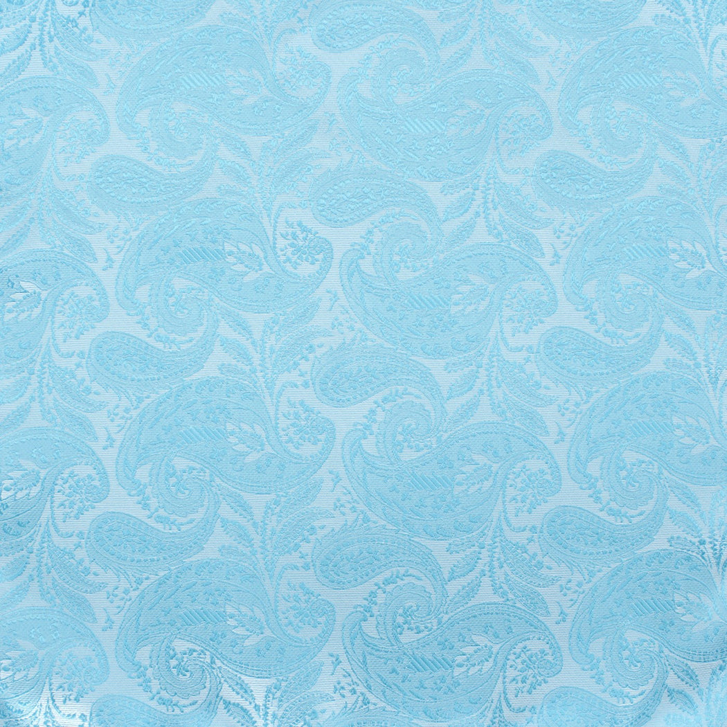 Shiny Sky Blue Paisley Pocket Square