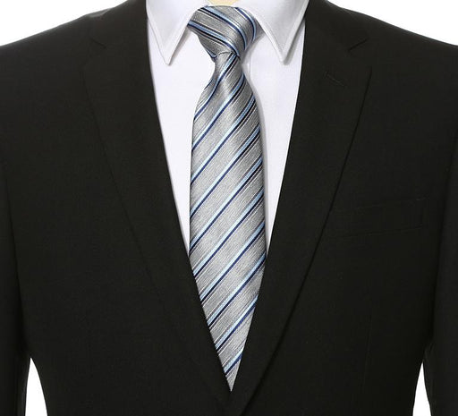 Silver Coin Striped Tie