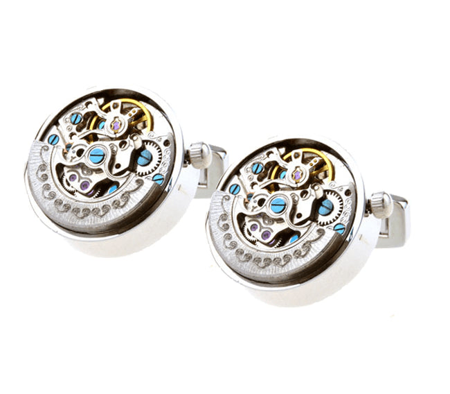 Silver Gear Mechanical Watch Movement Cufflinks