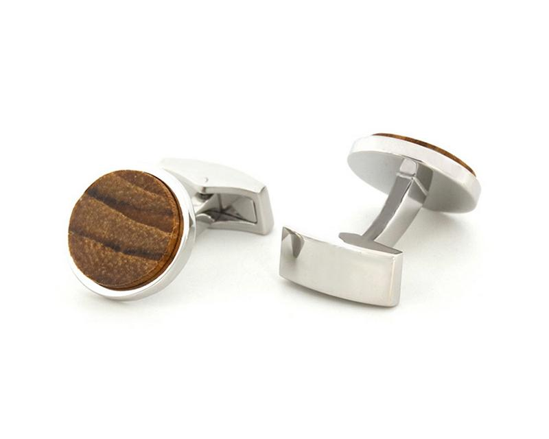 Rounded Wooden Cufflink