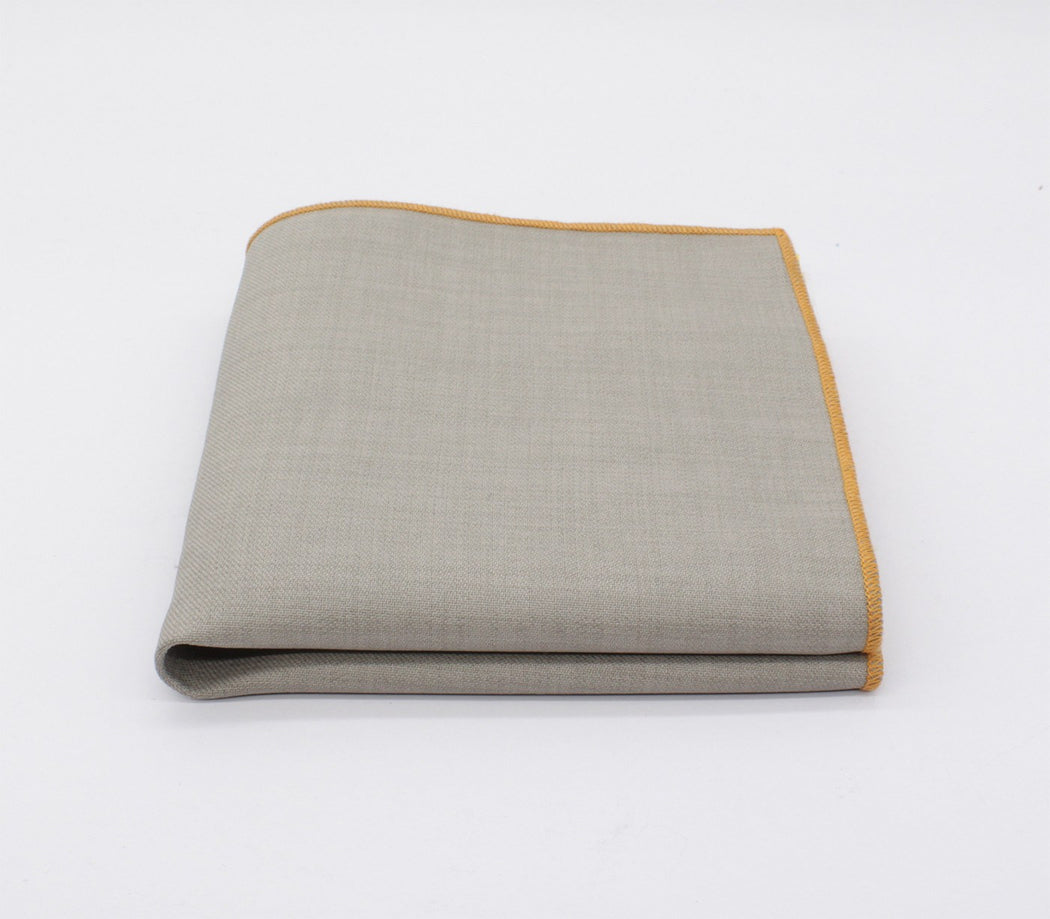 Steel Gray & Brown Solid Color Pocket Square
