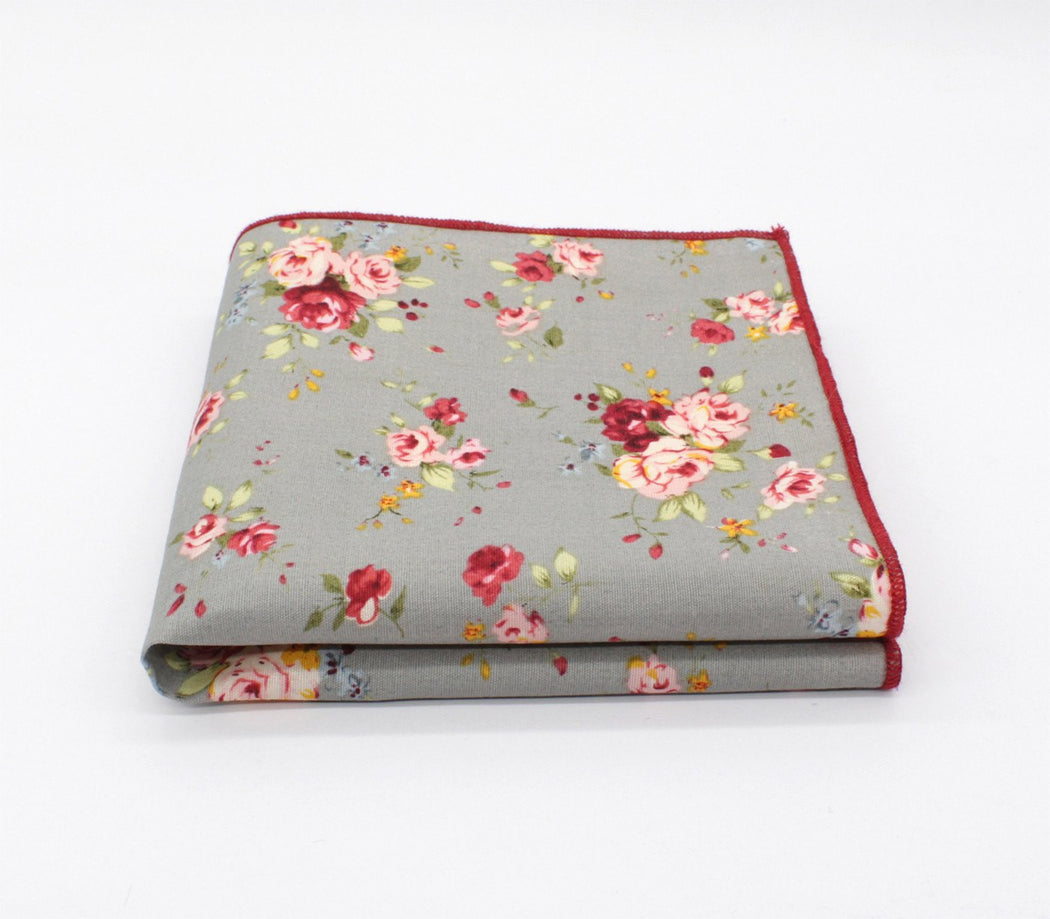 Steel Gray Flower Handkerchief