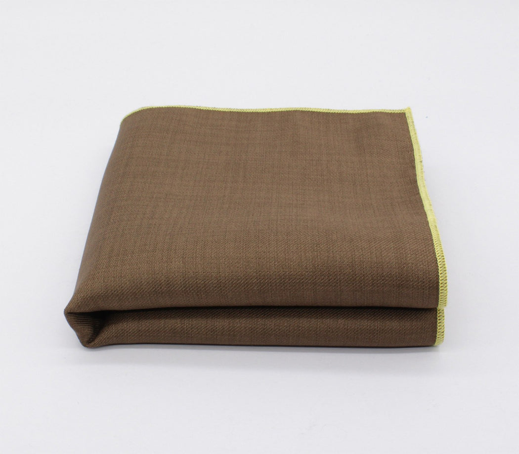 Superb Brown & Yellow Solid Color Pocket Square