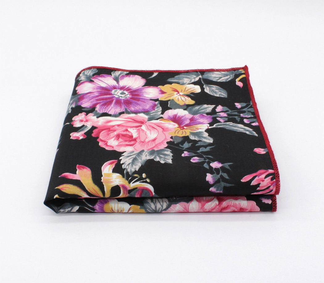 Supreme Black Flower Handkerchief