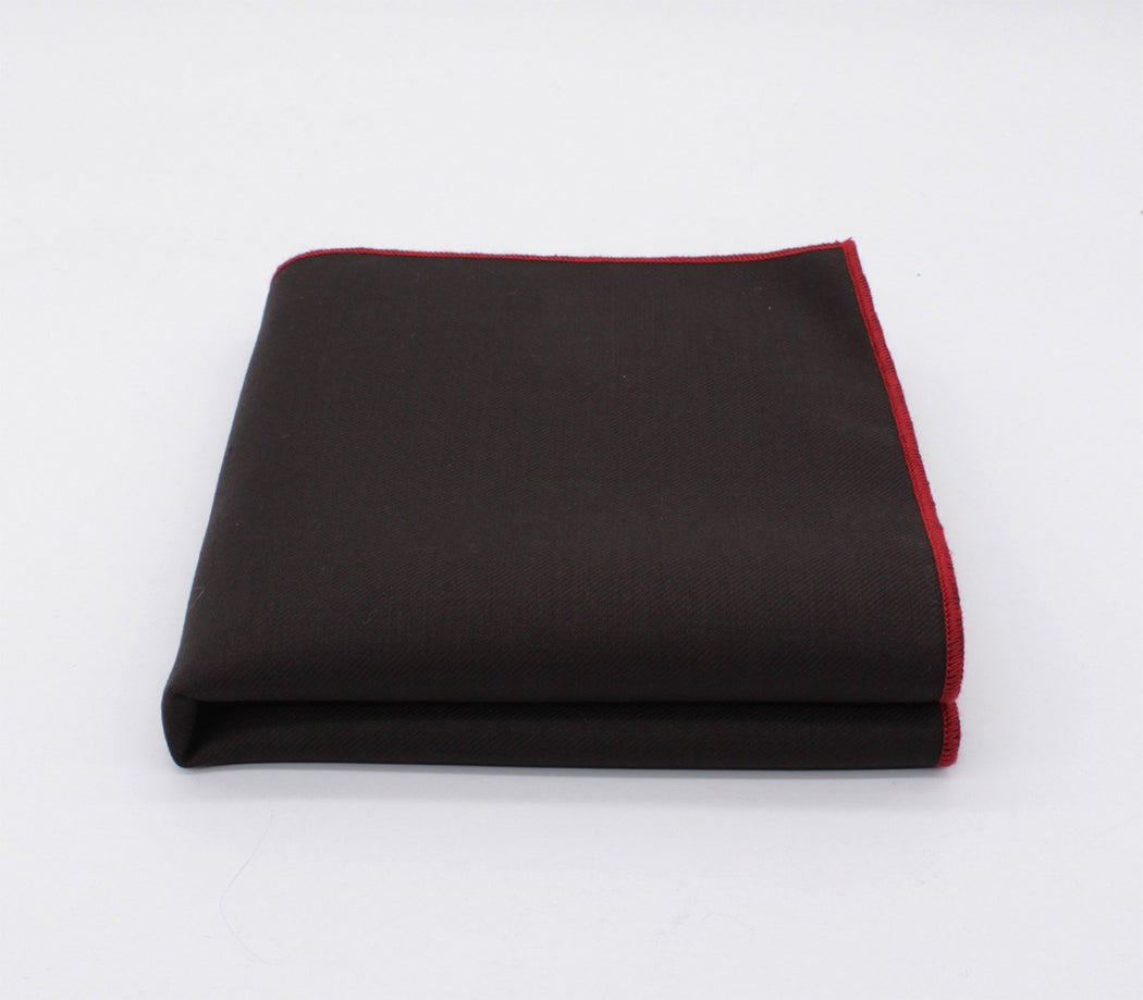 Tempting Brown & Red Solid Color Pocket Square