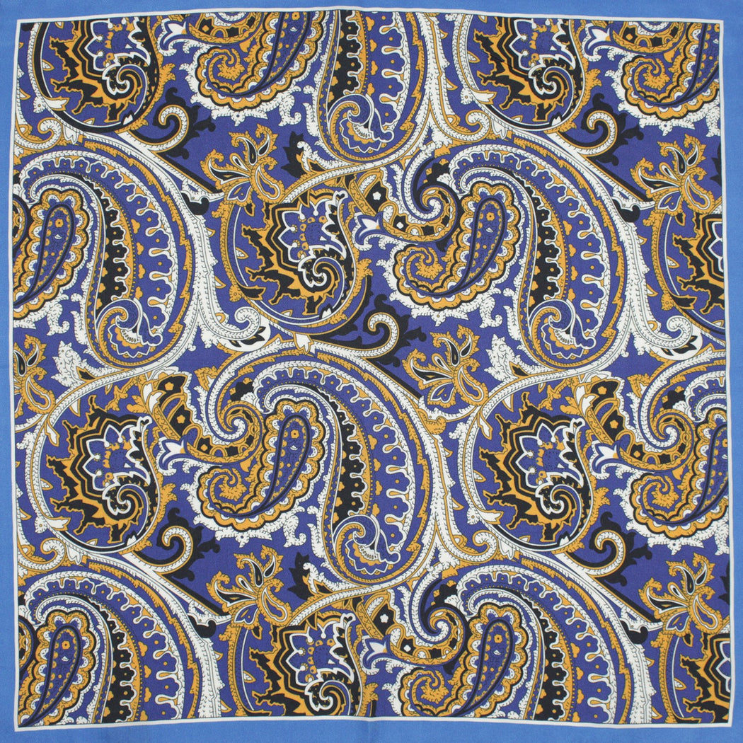 Tiger Blue Silk Pocket Square