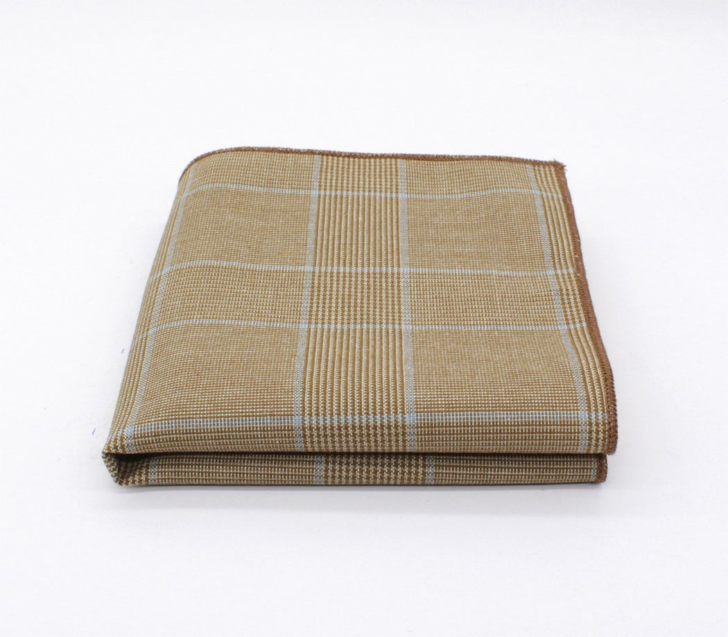 Tortilla Brown Plaid Pocket Square