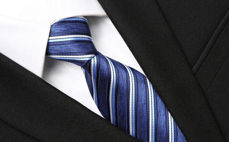 Triple Striped Blue Tie