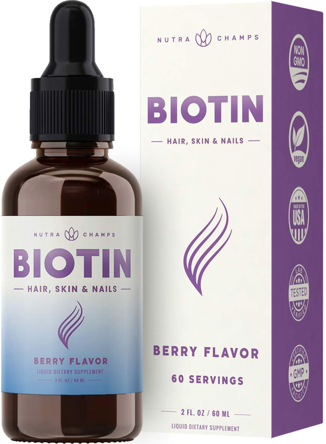 Biotin Drops 10,000mcg [Highest Potency] for Healthy Hair, Skin & Nails for Adults & Kids - with 5000mcg Option Liquid Tincture Bottle - Vegan, Sugar-Free, Organic Berry Flavor Hair Growth Supplement