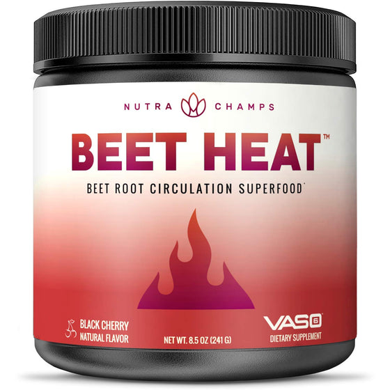 Beet Heat Beet Root Powder [Patented & Clinically Proven] Premium Circulation Superfood for Endurance, Energy & Recovery - Nitric Oxide Supplement Enhanced with Vaso6 & Grape Seed Extract - No Sugar