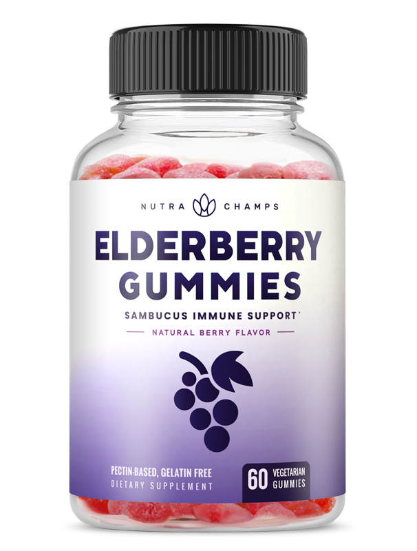 Elderberry Gummies for Kids & Adults [Double-Strength] Immune Support & Relief from Cold & Allergies - Sambucus Nigra Extract Antioxidant Supplement - 60 Vegetarian Gummy Vitamins