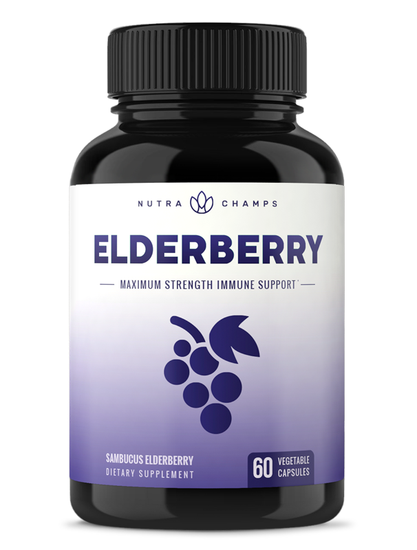 Elderberry Capsules 1200mg - Premium Supplement for Powerful Immune System Support & Relief from Cold, Flu & Allergies - Black Elder Berry Extract Nigra Antioxidant Vitamin - 60 Vegan Pills