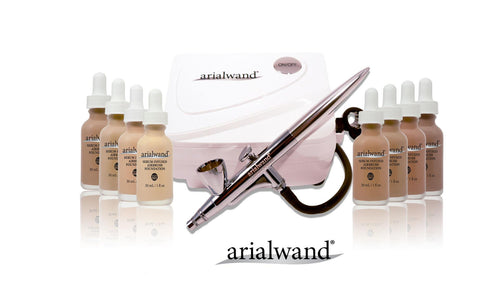 Arialwand Airbrush Kit- Pro Kit - 8 Foundation Shades, Primer, Highlighter and Bronzer