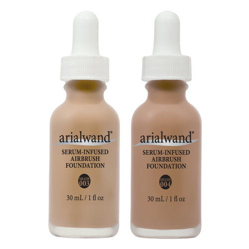 Arialwand Airbrush Foundation Makeup w/Hyaluronic Acid and Peptides DUO - Medium 2-1 fl. oz. bottles