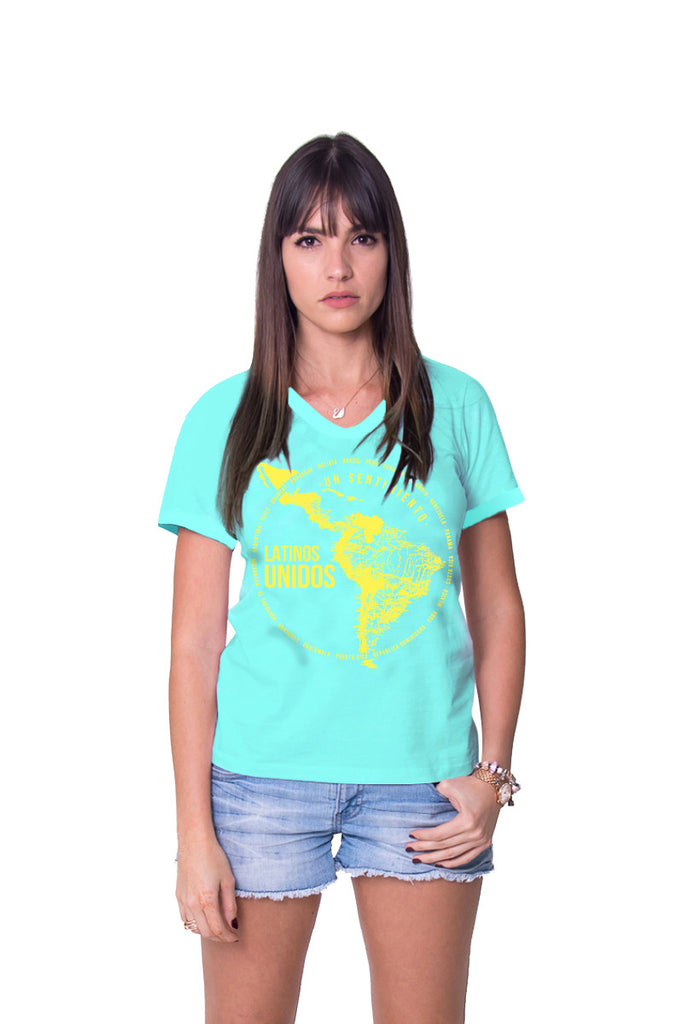 Latinos Unidos Blue Tee Damas