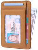 Slim Minimalist Front Pocket RFID Blocking Leather Wallets for Men & Women BG2288 Cross Brown - Borgasets