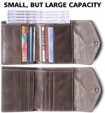 Alix Women's RFID Blocking Small Compact Bifold Leather Pocket Wallet Ladies Mini Purse Khaki - Borgasets
