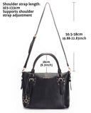 Horseshoe Womens Vintage Tote Shoulder Bag Top Handle Crossbody Handbags Large Capacity With Key Chain Black - Borgasets