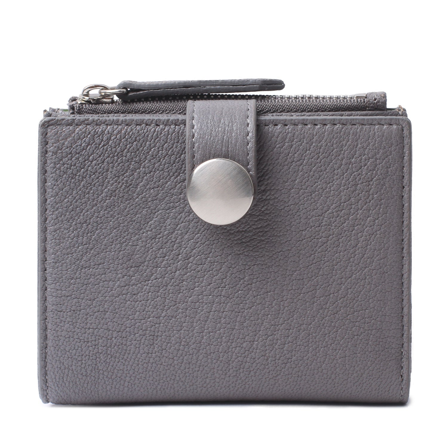 Katya Small Leather Bifold Wallet and Zipper Coin Purse for Women Gray