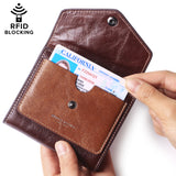 Alix Women's RFID Blocking Small Compact Bifold Leather Pocket Wallet Ladies Mini Purse Reddish brown - Borgasets