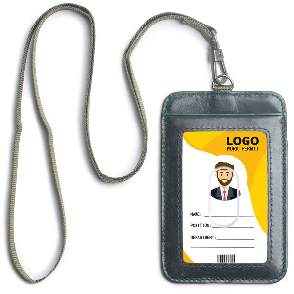 Genuine Leather ID Badge Holder with 1 Clear ID Window & 2 Credit Card Slot and a Detachable Neck Lanyard, for Women & Men