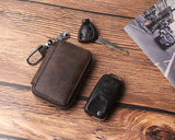 Car key case,Genuine Leather Car Smart Key Chain Keychain Holder Metal Hook and Keyring Zipper Bag for Remote Key Fob Coffee - Borgasets