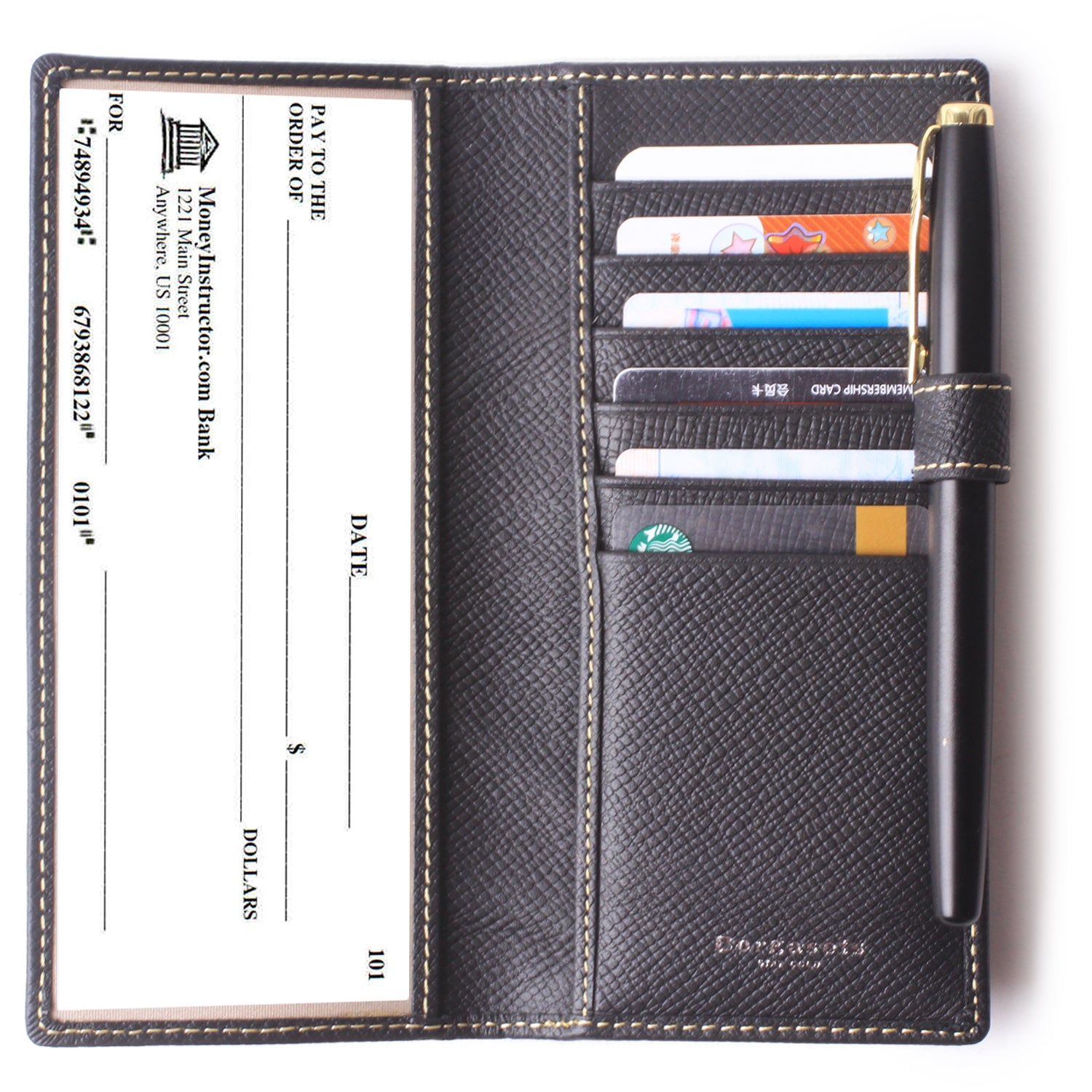 Leather Checkbook Cover For Men Women Checkbook Covers with Card Holder Wallet BG2255 Black - Borgasets