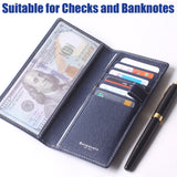 Leather Checkbook Cover For Men Women Checkbook Covers with Card Holder Wallet BG2255 Blue - Borgasets