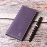 Leather Checkbook Cover For Men Women Checkbook Covers with Card Holder Wallet Purple - Borgasets