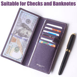 Leather Checkbook Cover For Men Women Checkbook Covers with Card Holder Wallet BG2255 Purple - Borgasets