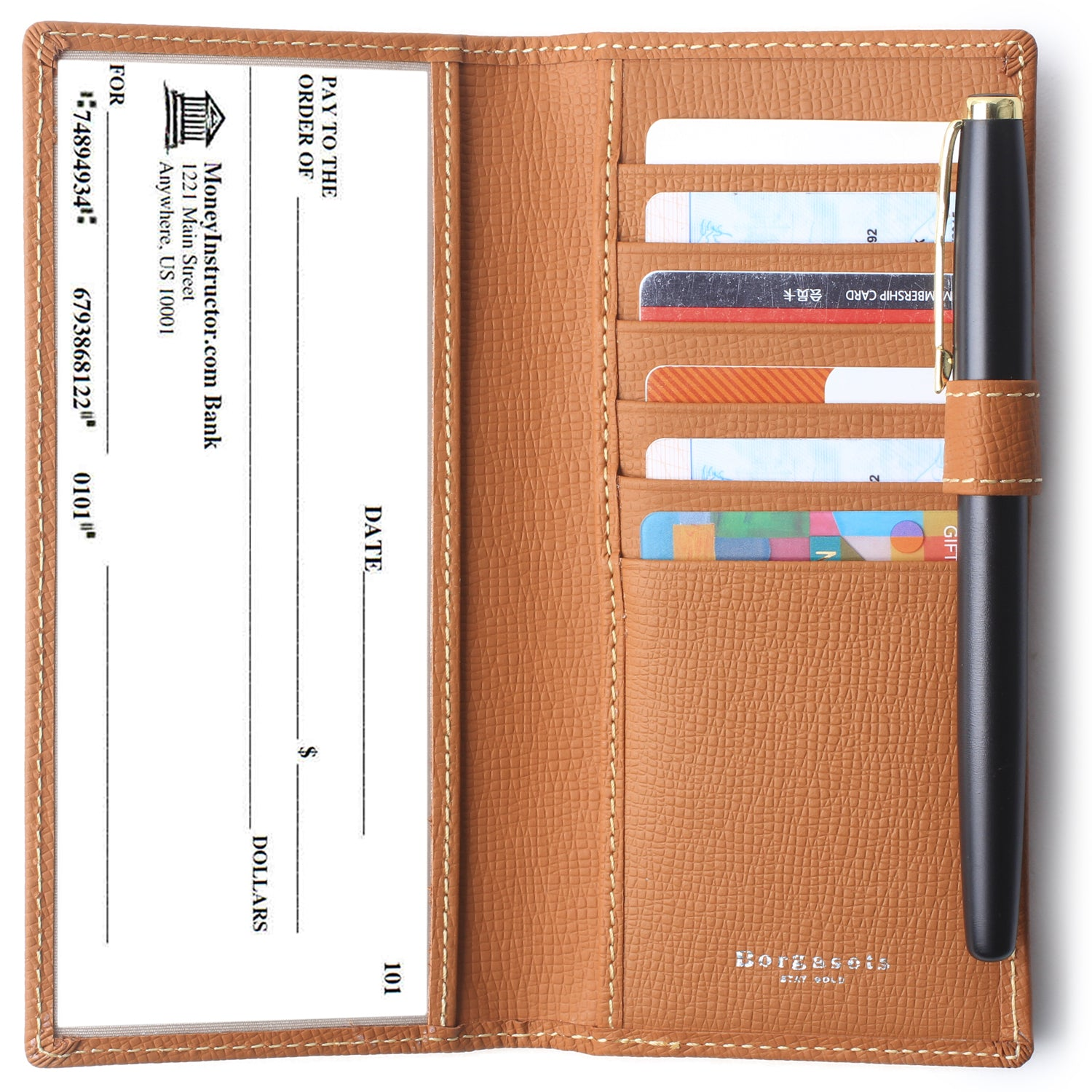 Leather Checkbook Cover For Men Women Checkbook Covers with Card Holder Wallet Brown - Borgasets